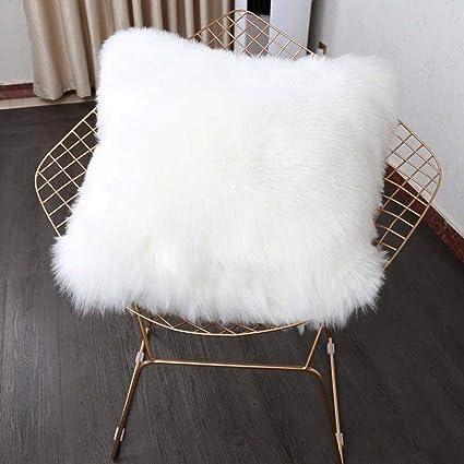 Funda de cojín de pelo sintético muy suave, funda de cojín de café, cojín de decoración del hogar, 45 x 45 cm, sin almohada interior, blanco