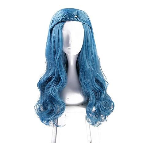 Largo Ondulado Azul Cosplay Peluca Halloween Disfraz Fiesta Pelucas Para Mujer