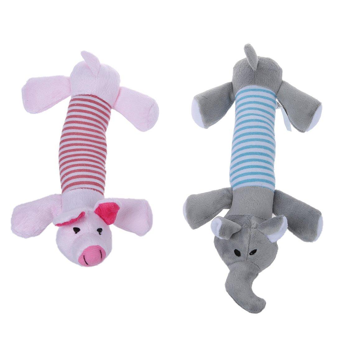 giocattoli - SODIAL(R) 2 animali del cane cucciolo da masticare Squeaker striduli peluche sonori maiale Giocattoli