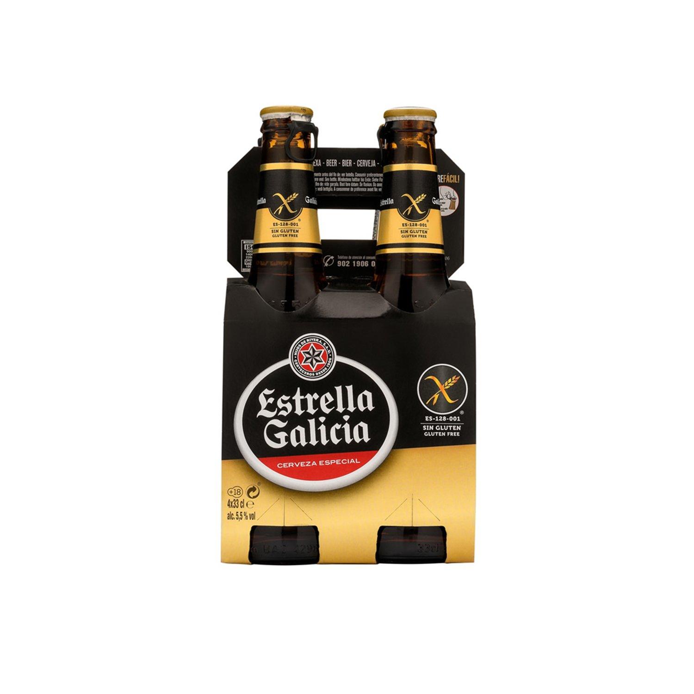 Estrella Galicia Cerveza Sin Gluten - Pack de 4 botellas x ...