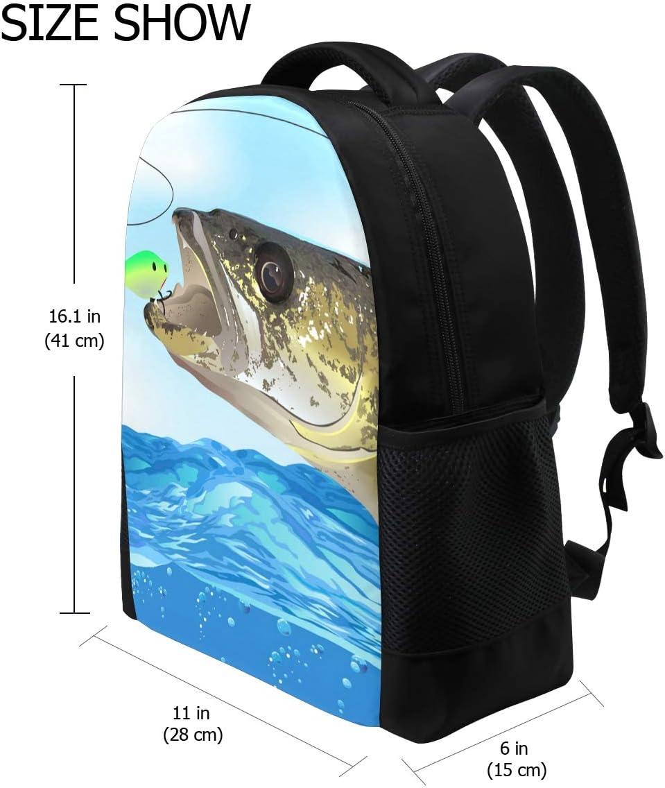 DEZIRO Polyester Walleye Fish Take The Bait School Bag for Women