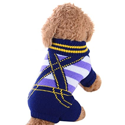 ef4e1b8fc540 Amazon.com   Hpapadks Pet Sweater Dog Four-Legged Bib Sweater,Pet Dog  Sweater Dog Clothes Small Dogs Winter Sweaters Rompers Small Dog Clothes    Pet ...