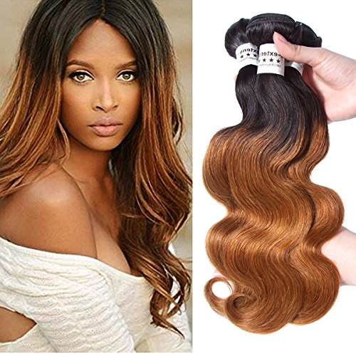- AM-Extensions Blonde T1B/30 Ombre Brazilian Body Wave 3 Bundles T1B 30, 2 Tone Brazilian Hair Weave Bundles Ombre Dark Brown Human Hair Extensions. Tangle Free (12
