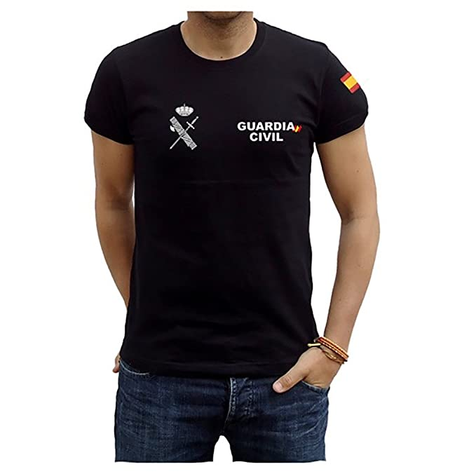 Camiseta Guardia Civil Bandera (S, Negro)