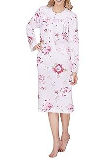 Damen Nachthemd Langarm Knopfleiste Gepunktet 95 cm 53903