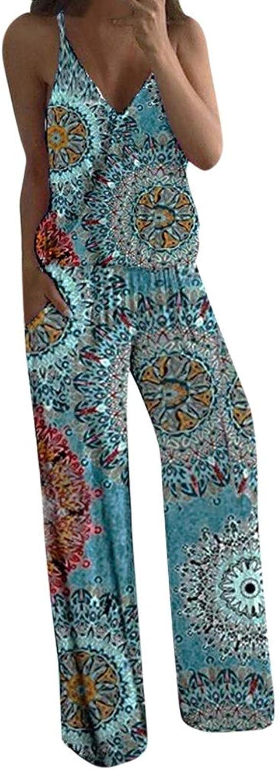Luckycat Monos Estampados de Girasol Mujer Sexy Largos Jumpsuit Chic Mono sin Mangas de Floral Impresión Elegante Playsuit Anchos Boho Pantalones de ...