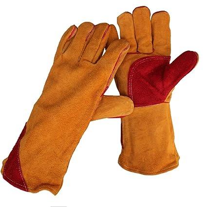 Hongyan Gloves Soldadura Guantes de protección Cuero Completo Sección Larga Soldadura eléctrica Soldadora de Engrosamiento de