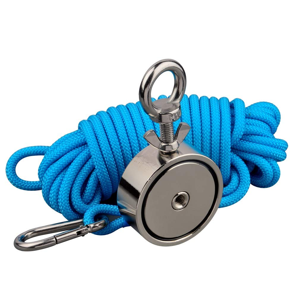 Mutuactor Double Sides Combined 1100lb Vertical Magnetic Pull Force Neodymium Recovery Fishing Magnet with Rope by MUTUACTOR