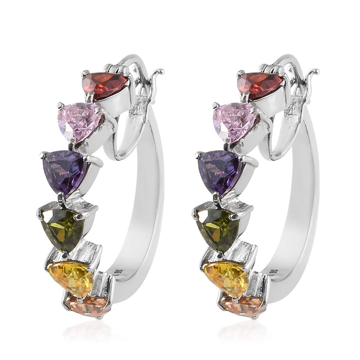 6 Stone Multicolor Heart Hoops, Hoop Earrings Cubic Zirconia CZ Hypoallergenic Gift Jewelry for women Cttw 7.9 by Shop LC Delivering Joy