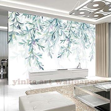 Bzdhwwh 3d Europeenne Feuille Verte Aquarelle Salon Papier Peint