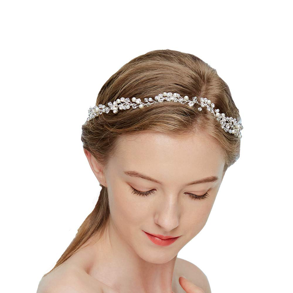 Dohuge Blumen Haarschmuck Vintage Braut Rebe Stirnbänder Strass Perlen Blumen Hochzeit Haarteile Hochzeit Stirnband Haarband Haarspangen Hochzeit Haarschmuck D214 DH-045-MD214