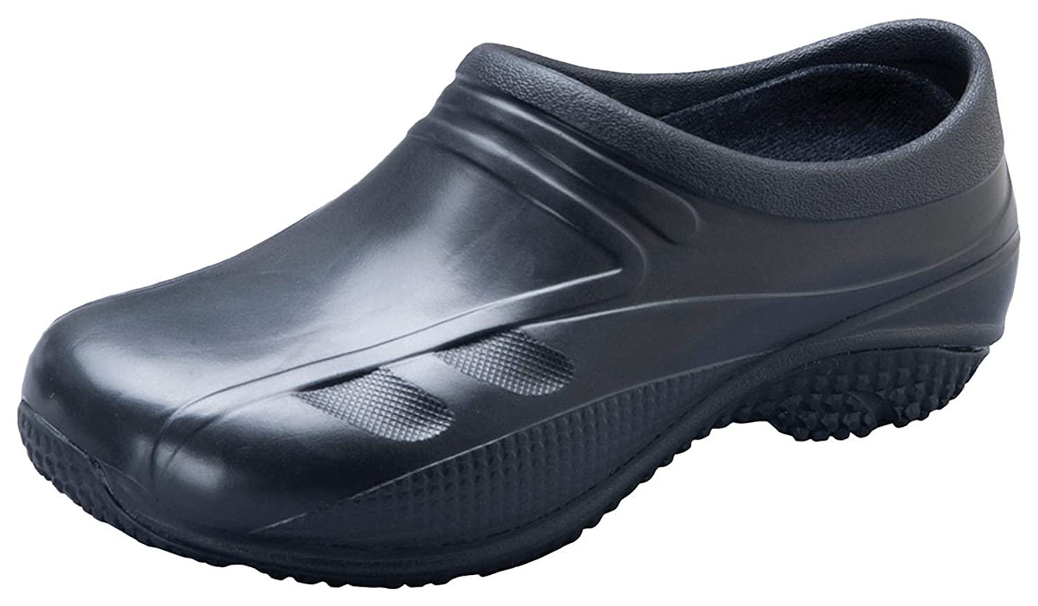 Anywear Unisex Slip Resistant Injected Closed Back Clog_Black_8,EXACT