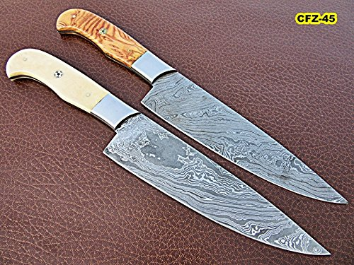 CFZ-45, Countryside Style Chef Knife Pair - Solid White Bone & Olive Burrel Wood Handle