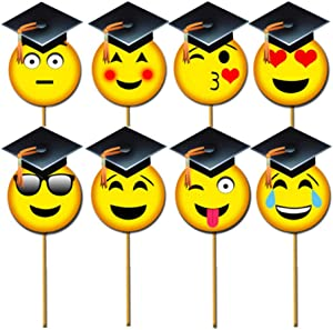 COKOHAPPY Emoji-Icon Graduation Photo Booth Props (8pcs), Photo Props Class of 2020 Grad Decor with Sticks for Kids Boy Girl, Big Size Smiley Face Kit for Graduation Party Favors Supplies Decorations