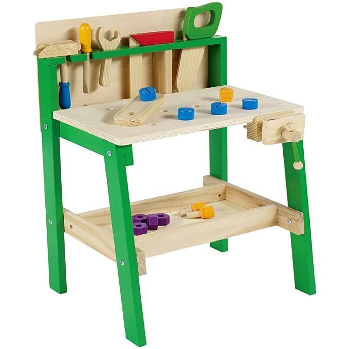 Leo & Emma Spielwerkbank aus Holz grün