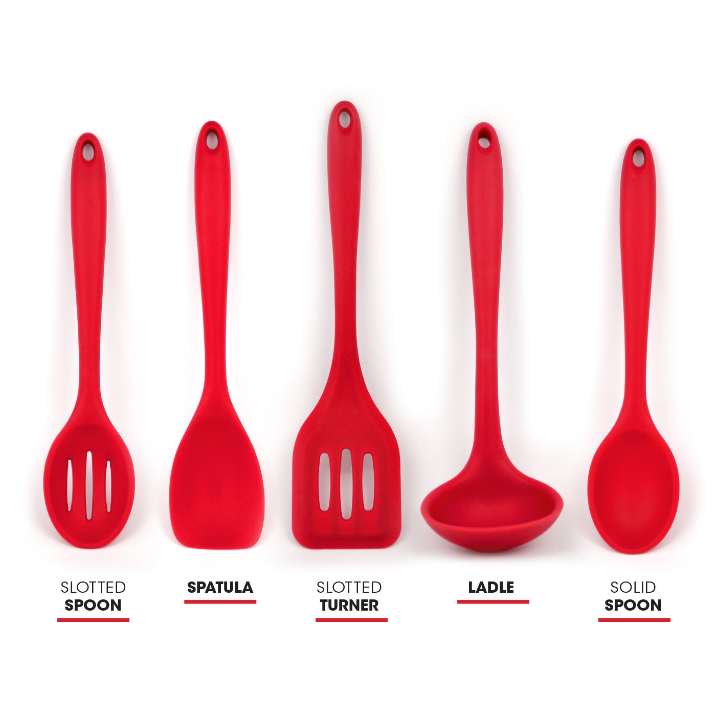 Amazon Sorbus Silicone Kitchen Utensil Set in Solid Coating