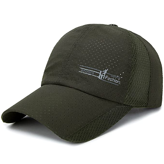 LLmoway Mens Summer Sun Cap Quick Dry UPF50+ Breathable Baseball Cap  Adjustable Run Hat Army Green 923c8127ae6