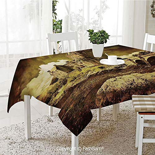 AmaUncle Party Decorations Tablecloth Old Scottish Castle in Vintage Style European Middle Age Culture Heritage Town Photo Kitchen Rectangular Table Cover (W60 xL104)]()