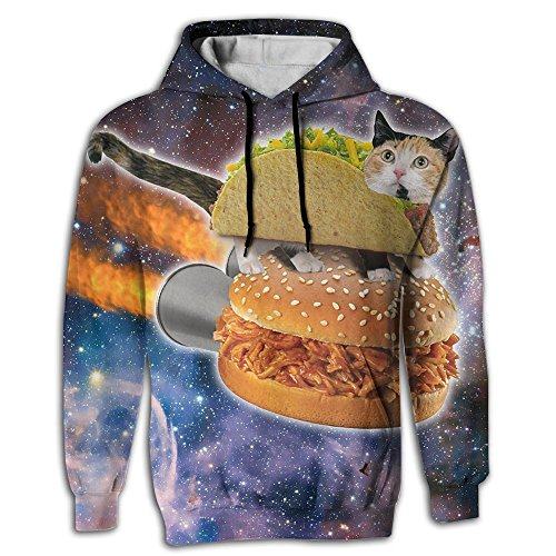Taco Cat Space Men's Sweatshirt 3D Print Hoodies With Pockets Pullover Hooded