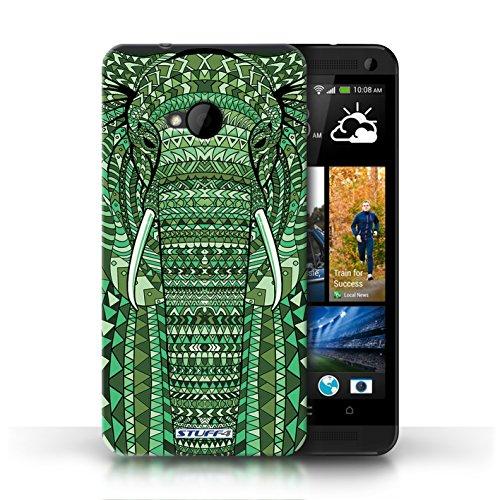 Etui / Coque pour HTC One/1 M7 / éléphant-Vert conception / Collection de Motif Animaux Aztec