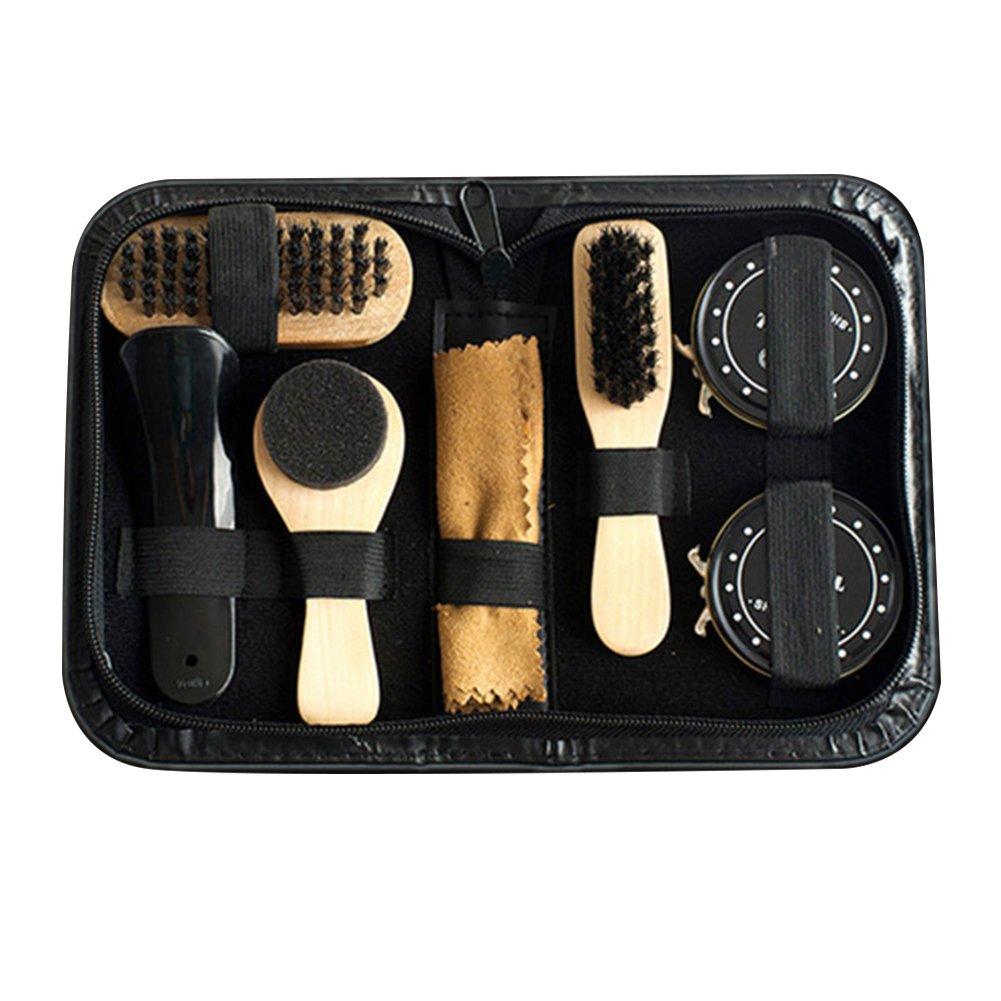 Sue Supply Kit d'entretien à chaussures, Ensemble 8kits de brosse à cirage de voyage Ensemble de cirage pour chaussures en cuir Ensemble de soins