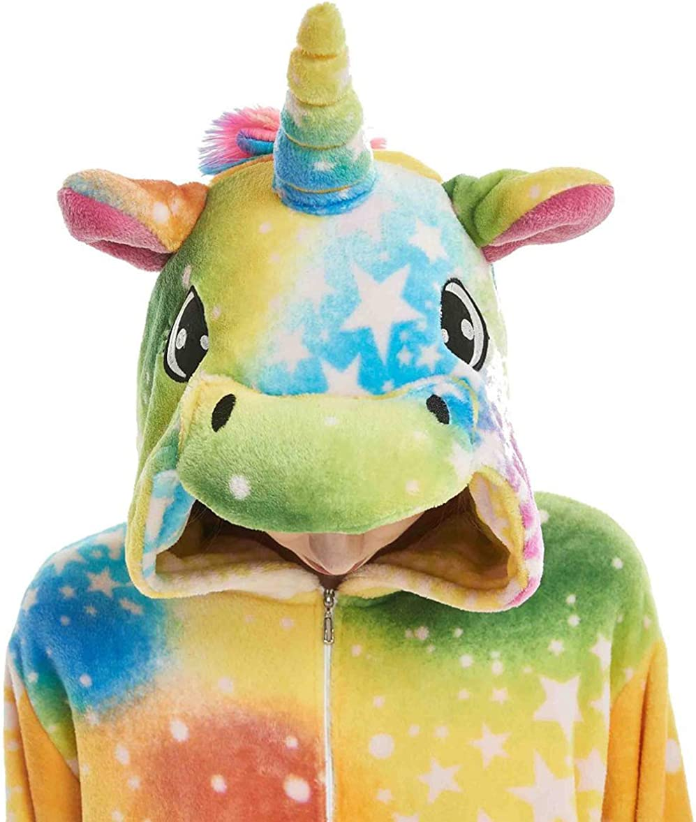 YULOONG Adult Unicorn Onesies Pajamas Halloween Christmas Party Cosplay Costume Fancy Dress for Women Man