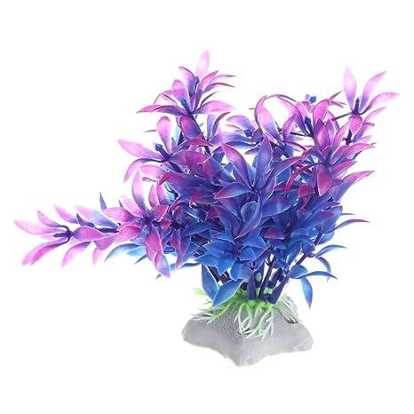 Xuniu Plantas Artificiales Agua Hierba Pecera Acuario Decoración Akvaryum (11cm)