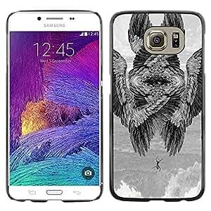 Paccase / SLIM PC / Aliminium Casa Carcasa Funda Case Cover - Wings Bird Meaning Deep Painting - Samsung Galaxy S6 SM-G920