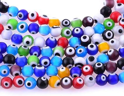 50 8mm Oval Resin Evil Eye Spacer Beads Jewelry Making Bracelet DIY Multicolor