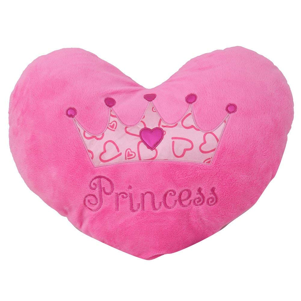 Princess Heart Pillow 13'' Inches Pink Minky Throw Pillow