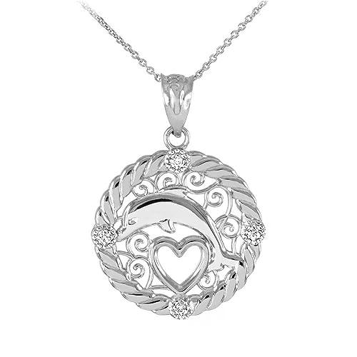 14k White Gold Diamond Roped Filigree Charm Dolphin Open Heart Pendant Necklace