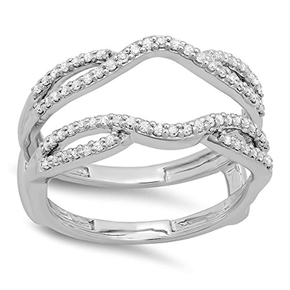 tusakha 0.35 Carat (ctw) 14K White Gold Plated Sterling Silver CZ Diamond Ladies Wedding Band Enhancer Guard Double Ring 1/3 CT (4-12) (5) by tusakha