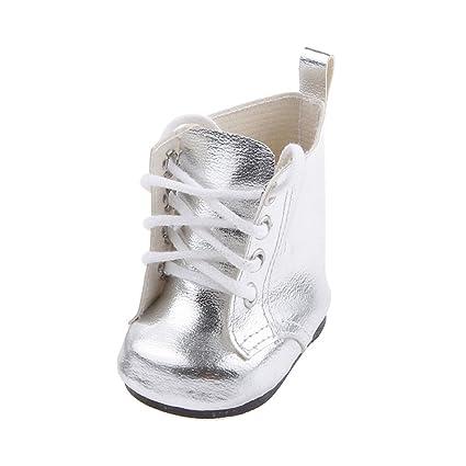 Botas Zapatos Fashion Princesa Encaje PU Martin para Muñecas Chicas Americanas 18 Pulgadas - Plata