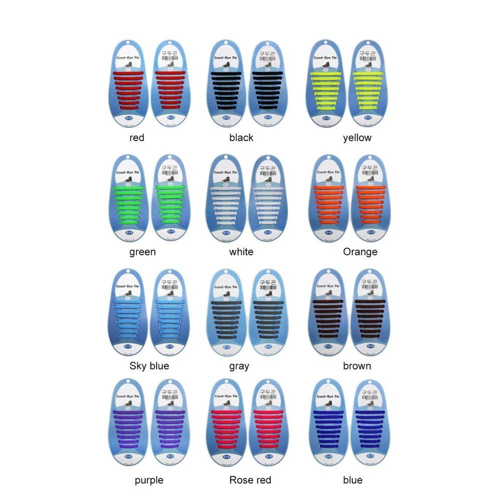 Leezo - Cordones elásticos para Zapatos de Running para niños y Adultos, de Silicona, para Atletismo y Zapatos de Vestir, Botas de Senderismo, 13 Colores