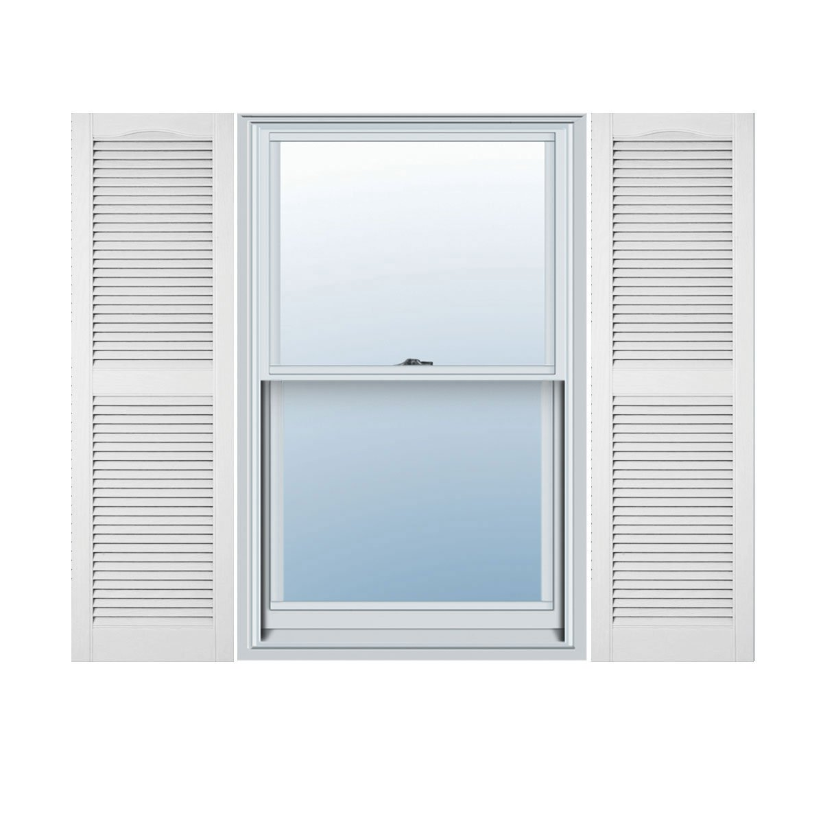 Mid-America 00 01 1267117 12'' x 67'' Bright White Louvered Vinyl Exterior Shutters (Pair)