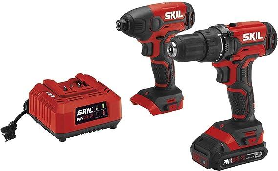 SKIL 20V 2-Tool Combo Kit: 20V Cordless Drill Driver and Impact Driver Kit