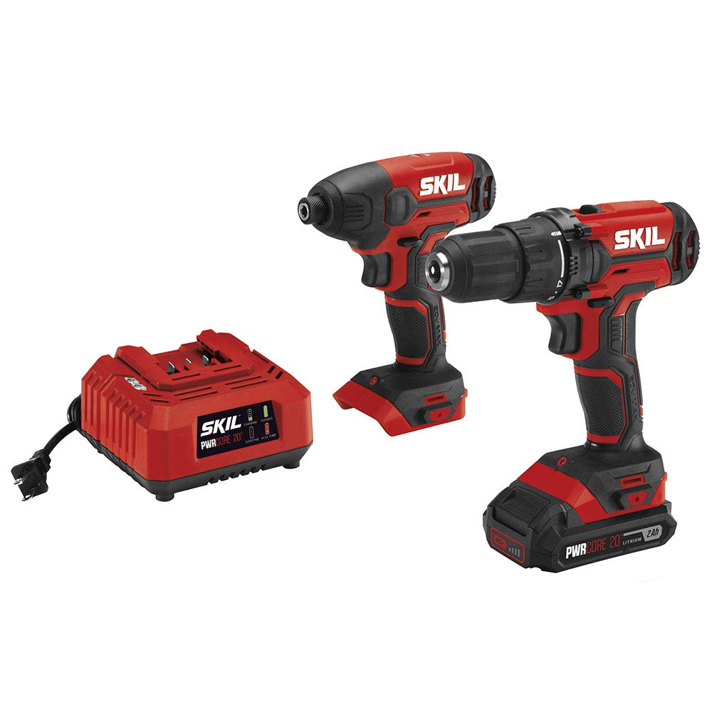 SKIL 20V 2-Tool Combo Kit: 20V Cordless Drill Driver and Impact Driver Kit, Includes 2.0Ah PWRCore 20 Lithium Battery and Charger - CB739001
