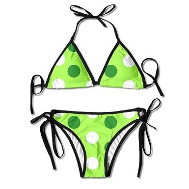 e3bdb087b1a Women Solid Bikini Set Push-up Unpadded Bra Swimsuit Swimwear Polkadot  Rainbow Triangle Bather Suit Swimming Suit: Amazon.co.uk: Clothing