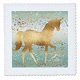 3dRose PS Animals - Image of Aqua Gold Stars Confetti Unicorn - 25x25 inch quilt square (qs_280778_10)