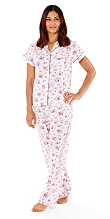 i-Smalls Ladies Pyjama Set Short Sleeve Floral Printed Buttoned Top Women Nightwear Soft PJs S to XXL with Lilac Eye Mask