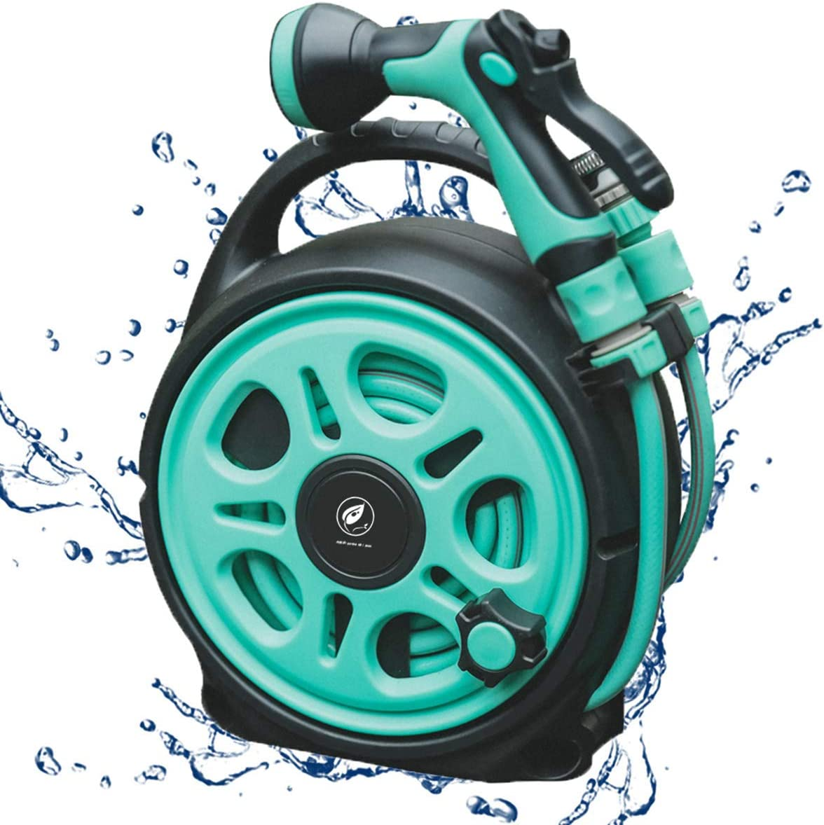 Upgraded Portable Retractable Garden Water Hose Reel Cart, Mini Hideaway Hose Reel Box with 50FT Hose Includes 7 Functions Spray Nozzle, Convenient Storage,Watering, Car Wash, Pet, Gardening