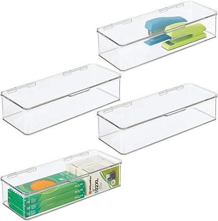 mDesign Juego de 4 organizadores de escritorio – Organizador de oficina apilable de plástico sin BPA – Caja de almacenamiento alargada con tapa para bolígrafos, gomas y más – transparente: Amazon.es: Hogar