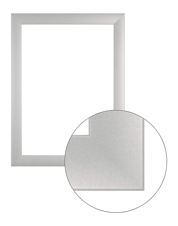 Framo36 Luxus 85 cm x 116 cm MDF Holz Bilderrahmen in Farbe Silber matt