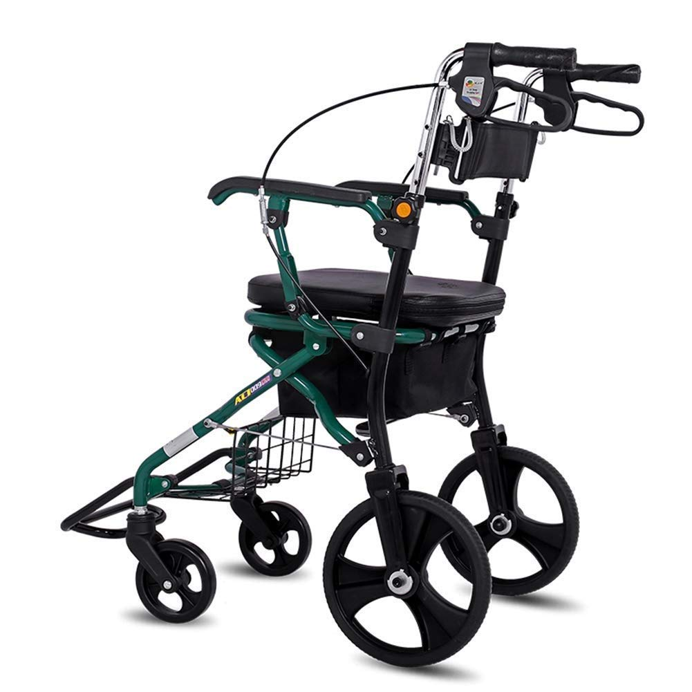 Medical Folding Rollator Walker with Seat and Lower Basket Height Adjustable Handle and Back Support Lockable Brake Limited Mobility Assistance Auxiliary Walking Safety Walker by YL WALKER
