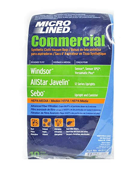 Windsor Sensor HEPA Cloth Synthetic Commercial Upright Vacuum Bags, 10 Bags.