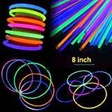 "Cheap 200 Pcs 8"" Glow Sticks Set with Connectors Light-Up Glow Necklaces Glow Bracelets Mixed Color for Kids Glow Stick Party Pack"