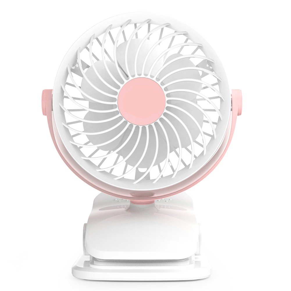 Baby Stroller Clip USB Fan Battery Operated Fan, Rechargeable, Quiet Design, Portable, 4-Speed Adjustable, for Desk, Tents, Car, Bed New- 4 Colors,Pink