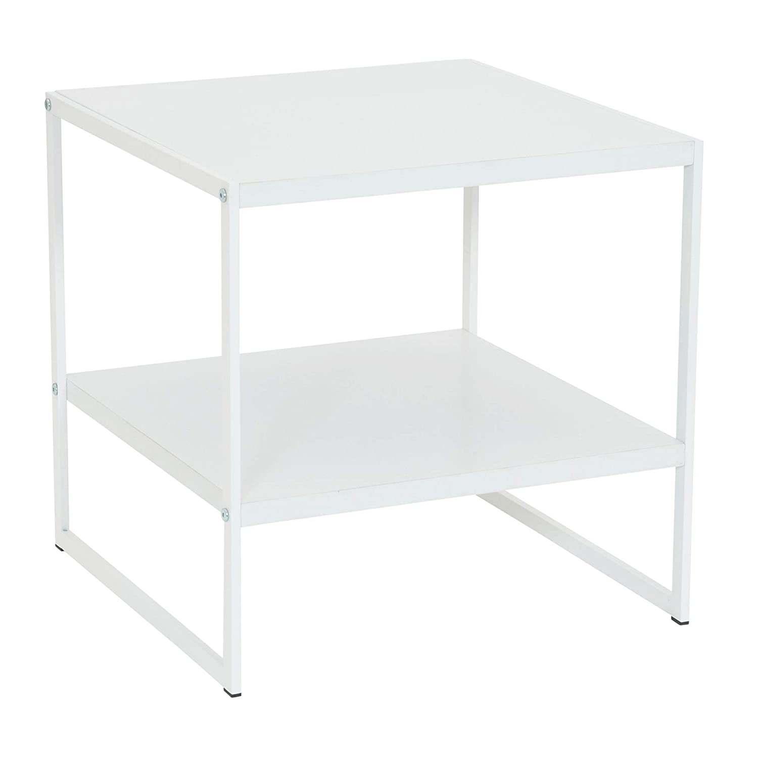 Household Essentials Square 2-Tier White End Table,