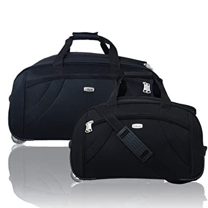 7a4d16065a Timus Samprass 55   65 cm Black 2 Wheel Duffle Trolley Bag (Pack of 2)   Amazon.in  Bags