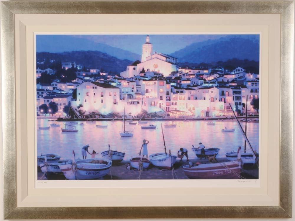 スペイン 絵画 風景画 シルクスクリーン 版画 笹倉鉄平 「カダケス2010」 額付き